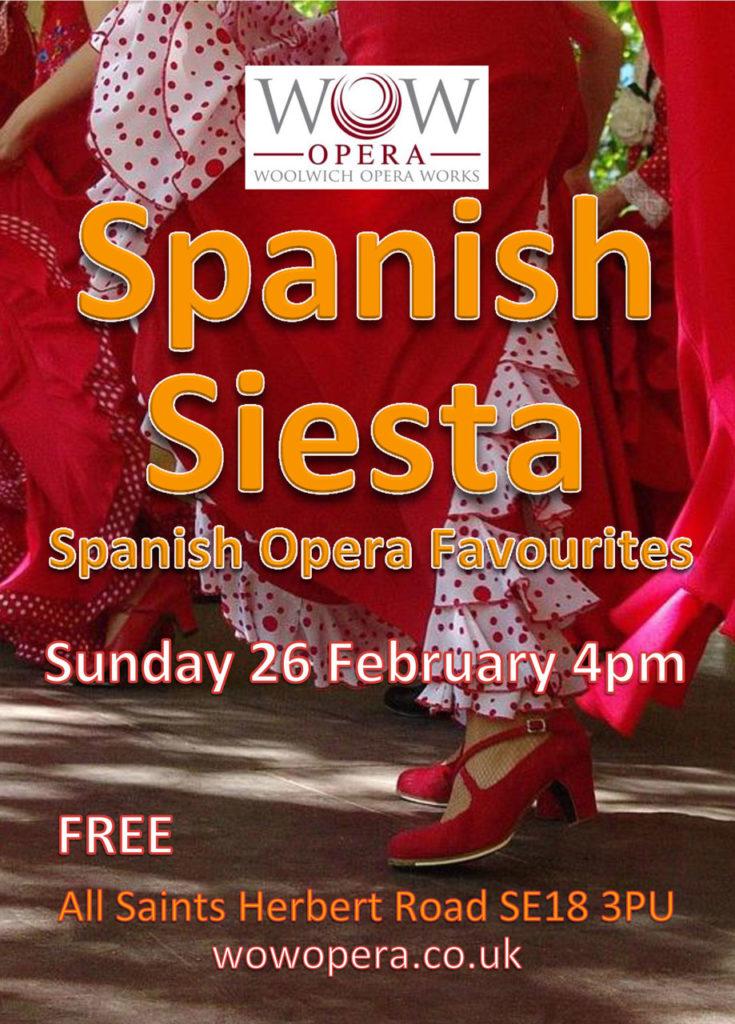 Woolwich Opera Works Spanish Siesta leaflet