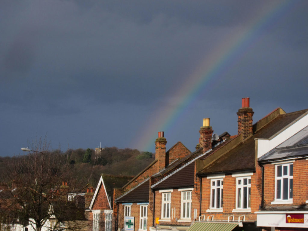 Severndroog Castle and rainbow from Westmount Road