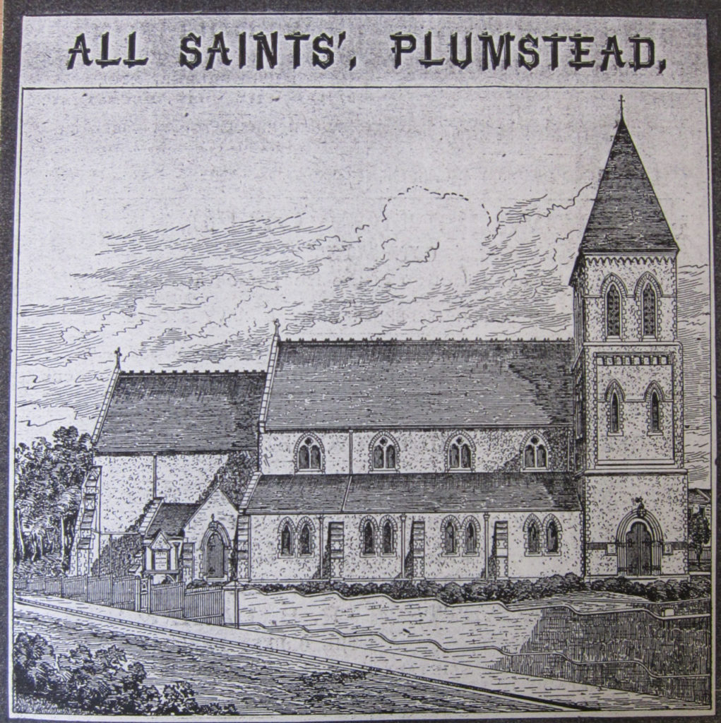 Sketch of original All Saints Church from Greenwich Heritage Centre