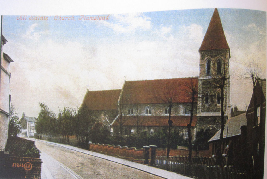 "A rare coloured photograph of the original All Saints Church from David Bathe's ""Steeped in History"""