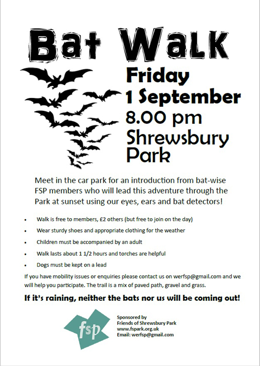 Shrewsbury Park bat walk poster Sept 2017