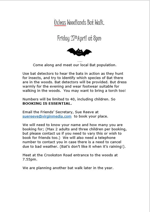 Friends of Oxleas Woodlands Bat walk poster
