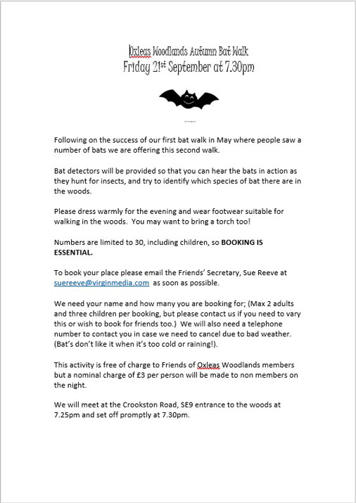 Oxleas Woodlands Bat Walk poster