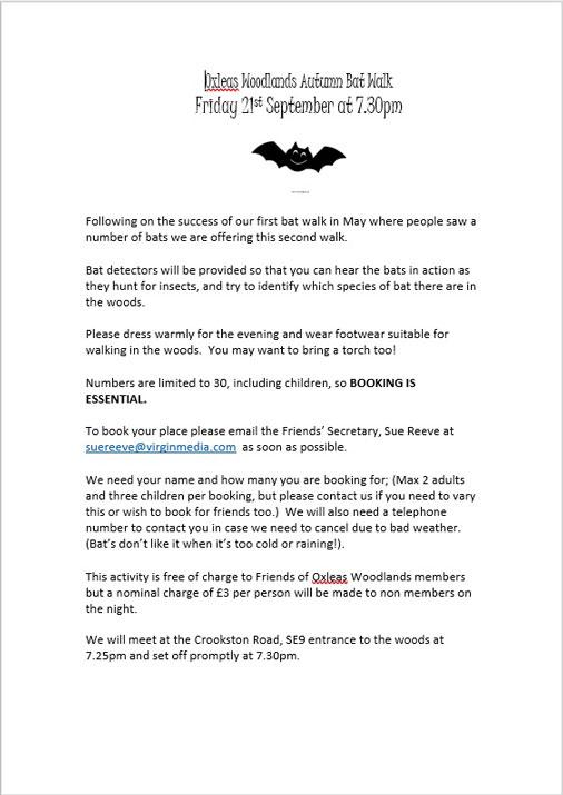 Oxleas Woodlands Bat Walk poster