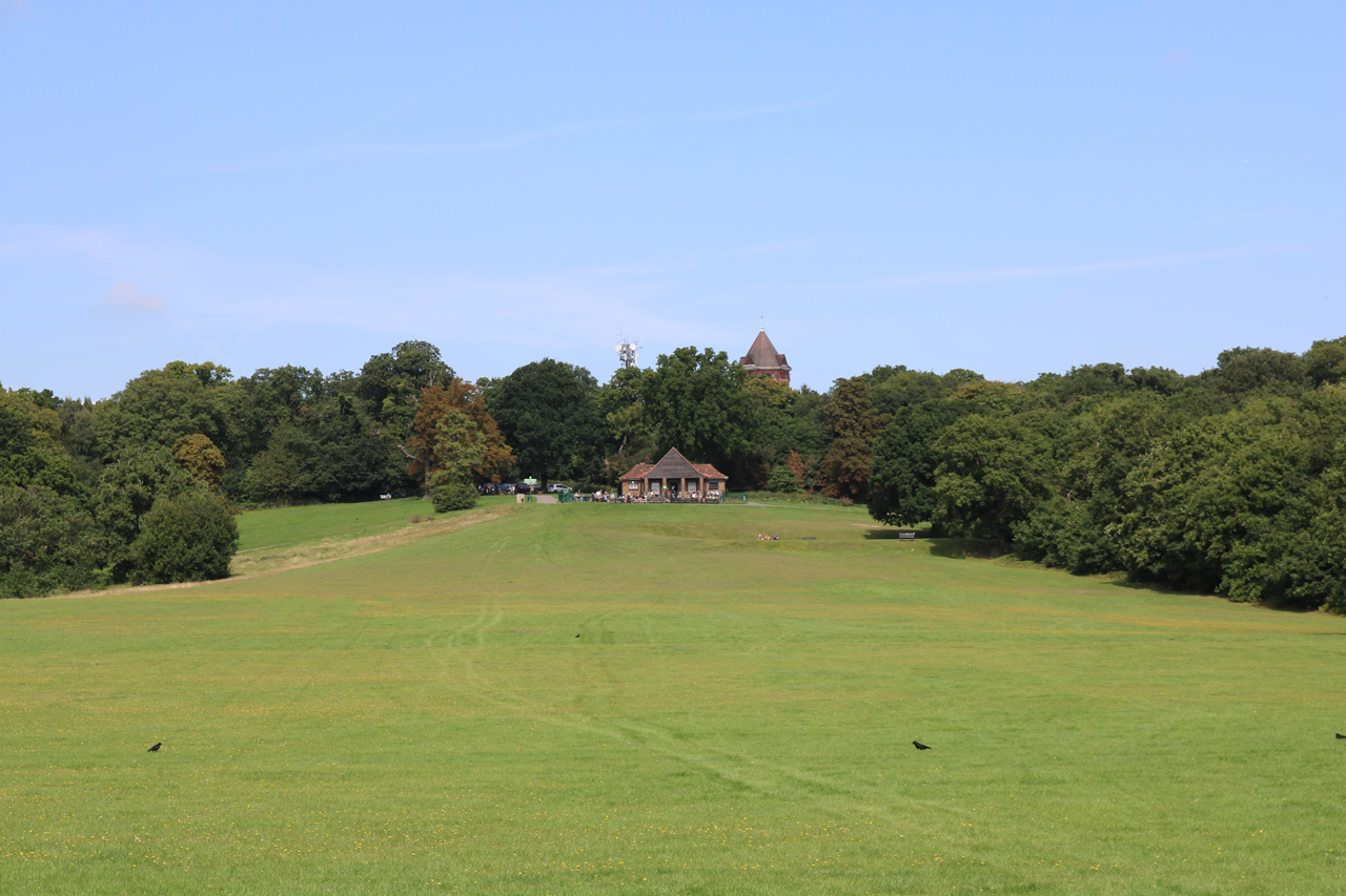 Oxleas Meadow, showing the cafe and the water tower
