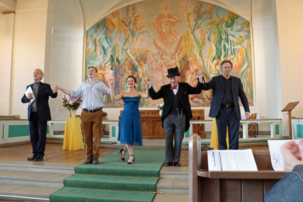 "Peter Knapp, Tristan Stocks, Chiara Vinci, Tony Baker, and Jeremy Silver at Woolwich Opera Works' ""Incanto"" The Magic of Naples at All Saints Church"
