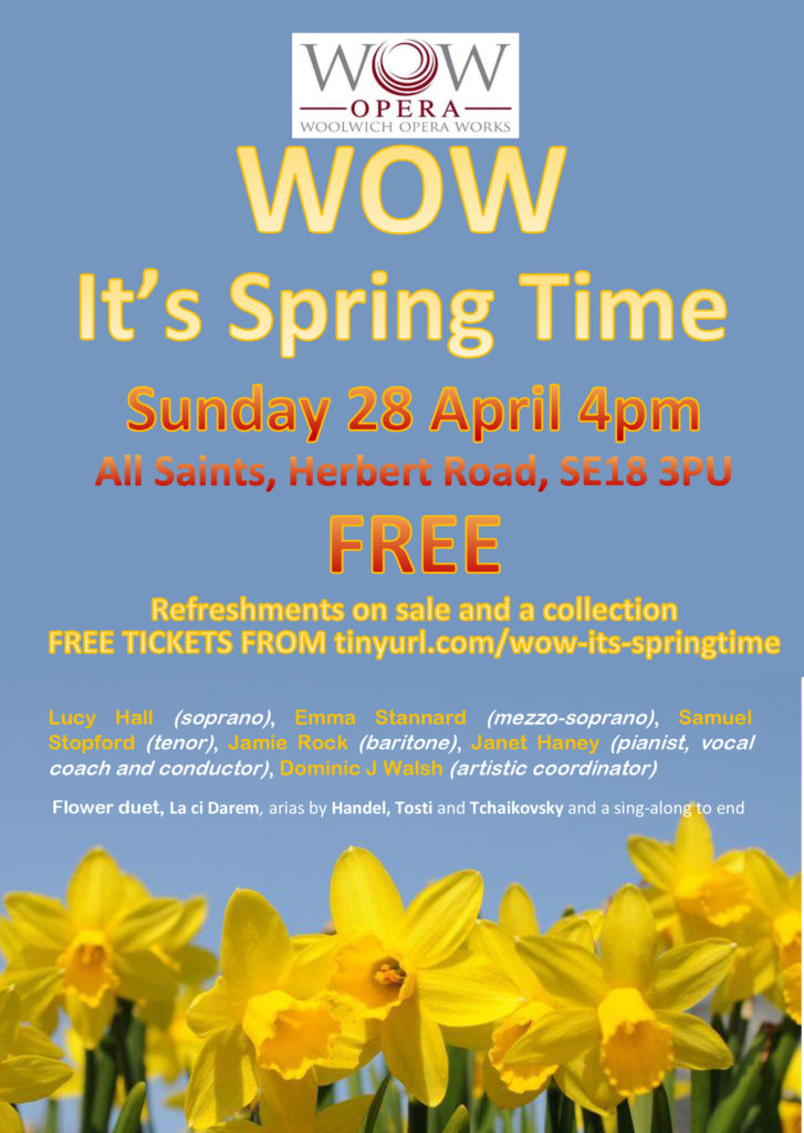 "Woolwich Opera Works ""It's Springtime"" concert poster"