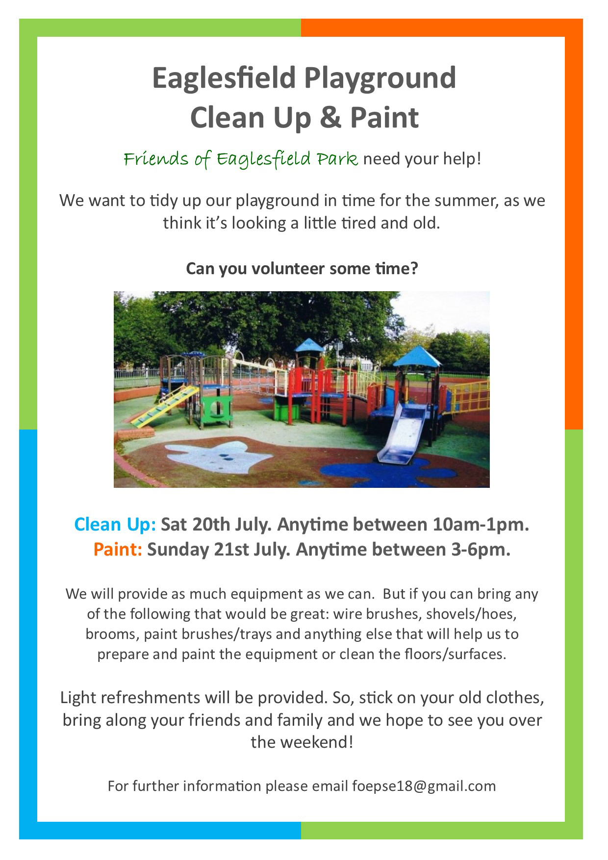 Eaglesfield Playground Clean-up and Paint Poster