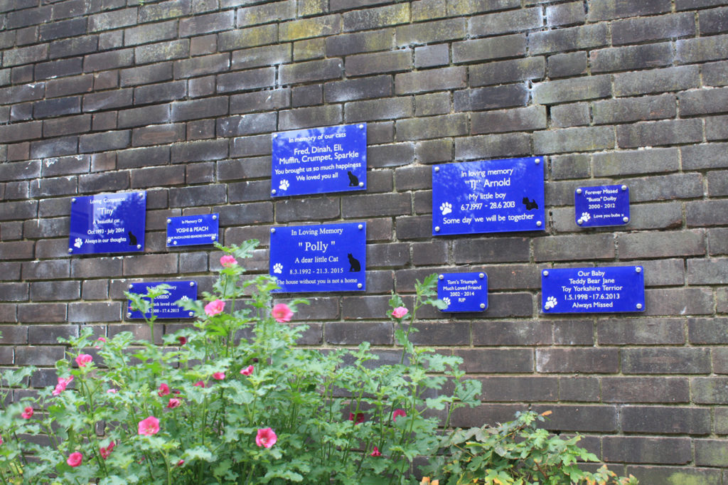 Memorial plaques in the Old Blue Cross Pet Cemetery