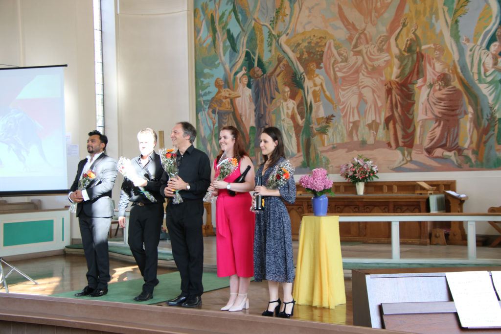 Amar Muchhala (Tenor), Grant Doyle (Baritone), Jeremy Silver (Piano). Hollie-anne Bangham (Mezzo-soprano) and Clémence Gleizes (Soprano) at Woolwich Opera Works' Cooling Classics concert