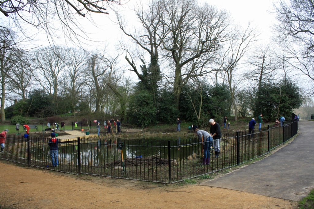 Local volunteers working on the pond in  March 2012