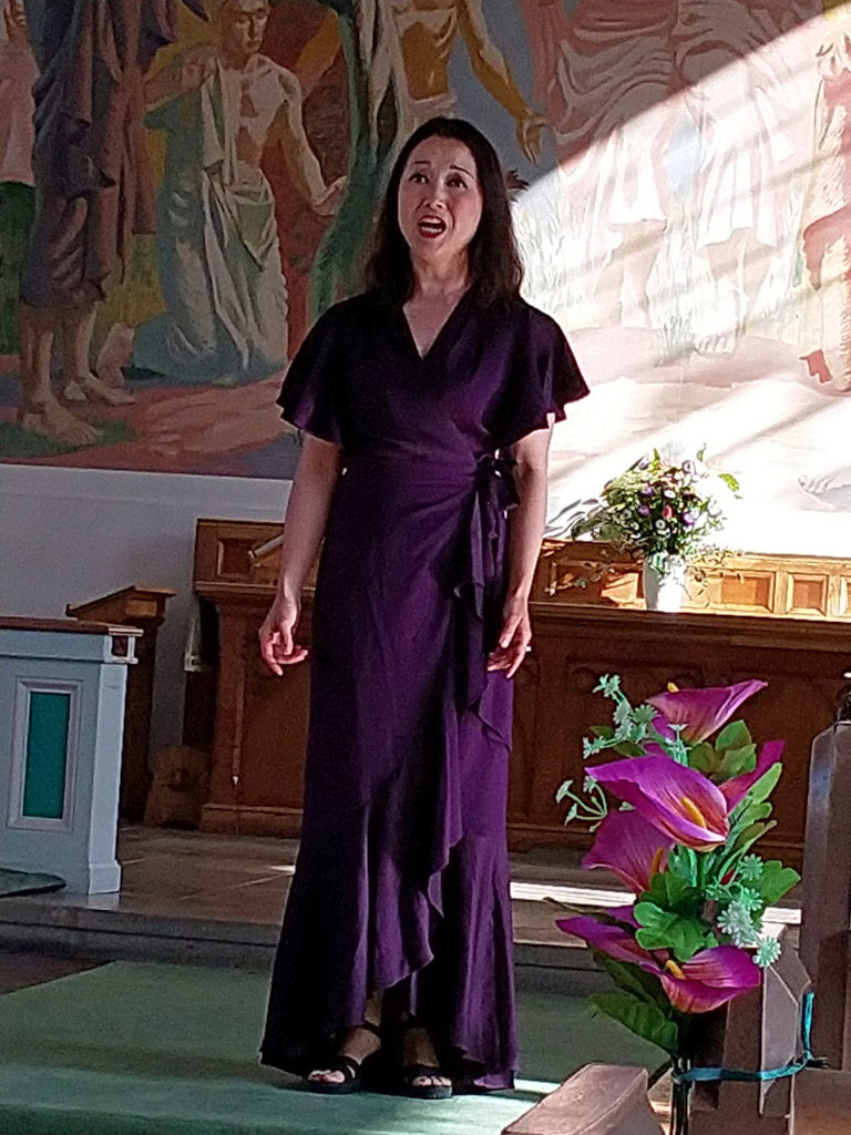 Angela Yang performing at Woolwich Opera Works' Songs of September at All Saints Shooters Hill